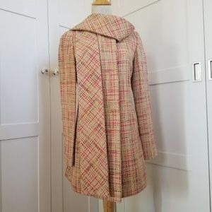 Anthropologie Tweed scarf coat